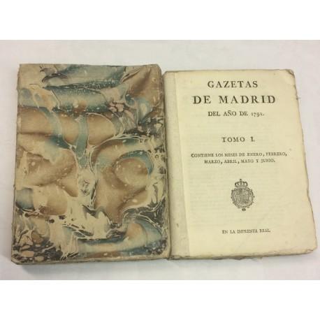 GAZETAS DE MADRID AÑO DE 1791 COMPLETO 104 números - [GACETA DE MADRID]