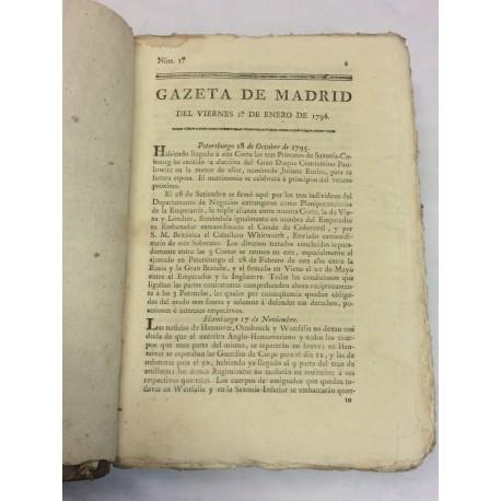 GAZETAS DE MADRID AÑO DE 1796 PRIMER SEMESTRE 52 números - [GACETA DE MADRID].