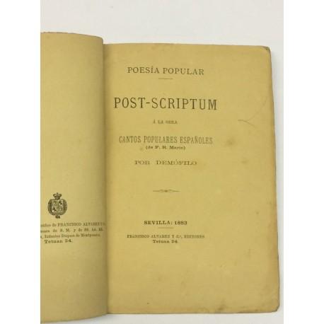 Poesía popular. Post-scriptum á la obra Cantos Populares Españoles (de F. R. Marín),