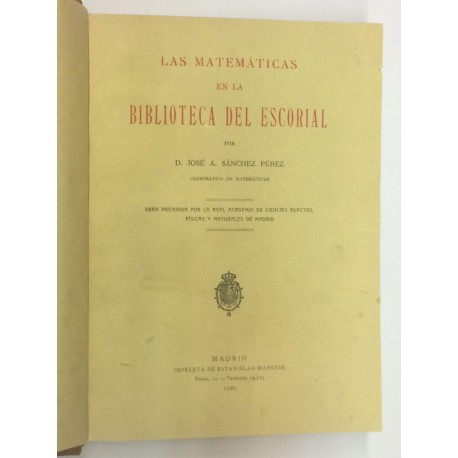 Las Matemáticas en la Biblioteca del Escorial.
