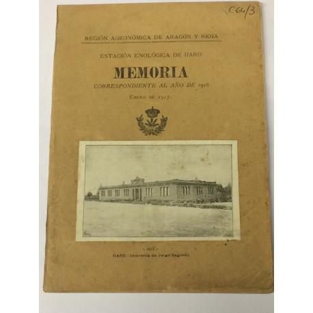 MEMORIA de la Estación Enológica de Haro correspondiente al año de 1916.