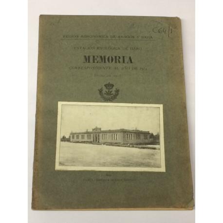 MEMORIA de la Estación Enológica de Haro correspondiente al año de 1914.