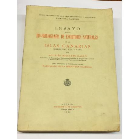 Ensayo de una bio-bibliografía de escritores naturales de las Islas Canarias (siglos XVI, XVII y XVIII).