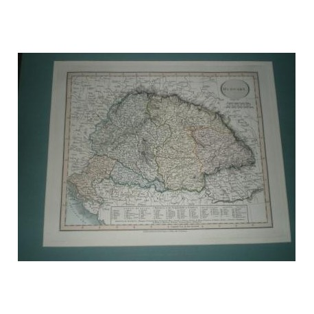 Antiguo mapa de HUNGRIA HUNGARY perteneciente a CARY´S NEW UNIVERSAL ATLAS.