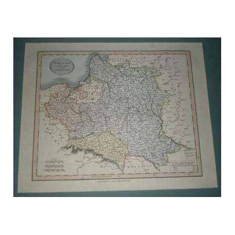 Antiguo mapa de POLONIA POLAND perteneciente a CARY´S NEW UNIVERSAL ATLAS.