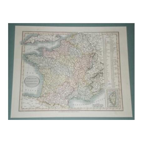 Antiguo mapa de FRANCIA FRANCE perteneciente a CARY´S NEW UNIVERSAL ATLAS.