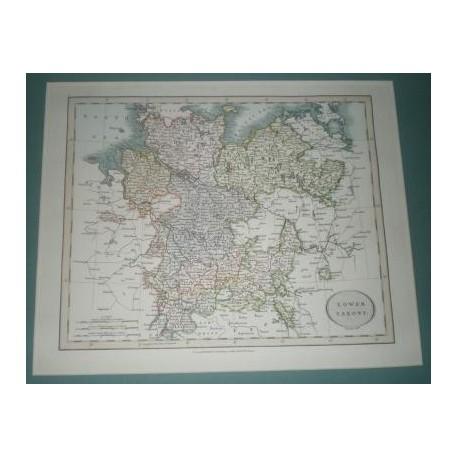 Antiguo mapa de BAJA SAJONIA LOWER SAXONY perteneciente a CARY´S NEW UNIVERSAL ATLAS.