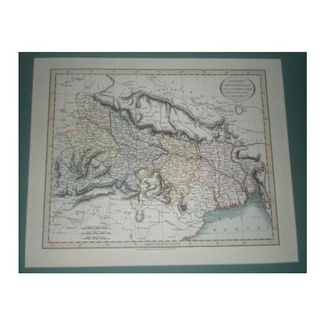 Antiguo mapa de GANGETIC HINDOOSTAN perteneciente a CARY´S NEW UNIVERSAL ATLAS.