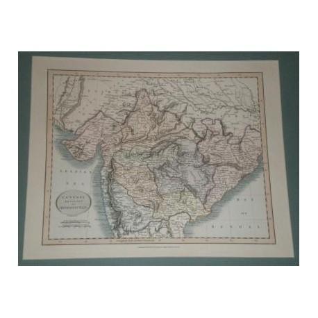Antiguo mapa de INDOSTAN CENTRAL DIVISION OF HINDOOSTAN perteneciente a CARY´S NEW UNIVERSAL ATLAS.