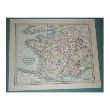 Antiguo mapa de FRANCIA FRANCE perteneciente a CARY´S NEW UNIVERSAL ATLAS.