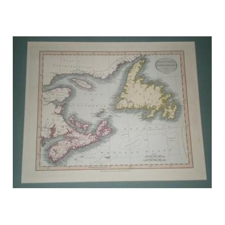 Antiguo mapa de NUEVA ESCOCIA TERRANOVA NOVA SCOTIA NEWFOUNDLAND perteneciente a CARY´S NEW UNIVERSAL ATLAS.