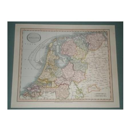 Antiguo mapa de HOLLAND HOLANDA PAISES BAJOS perteneciente a CARY´S NEW UNIVERSAL ATLAS.