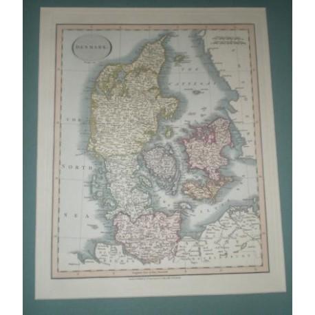 Antiguo mapa de DINAMARCA DENMARK perteneciente a CARY´S NEW UNIVERSAL ATLAS.