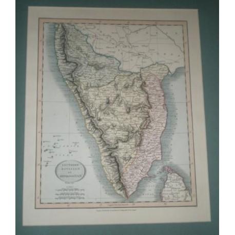 Antiguo mapa de DIVISION SURESTE DE INDOSTAN SOUTHERN DIVISION OF HINDOOSTAN perteneciente a CARY´S NEW UNIVERSAL ATLAS.