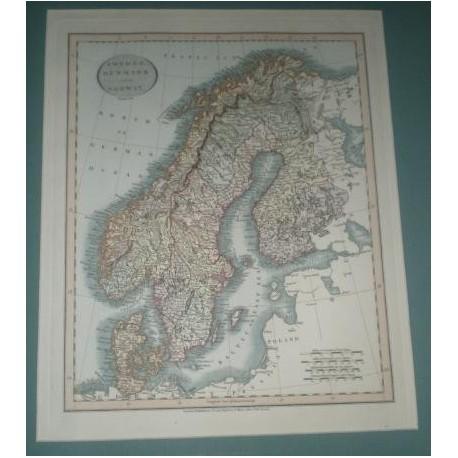 Antiguo mapa de SUECIA DINAMARCA Y NORUEGA SWEDEN DENMARK AND NORWAY perteneciente a CARY´S NEW UNIVERSAL ATLAS.