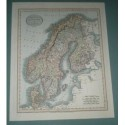 Antiguo mapa de SUECIA DINAMARCA Y NORUEGA SWEDEN DENMARK AND NORWAY perteneciente a CARY´S NEW UNIVERSAL ATLAS.