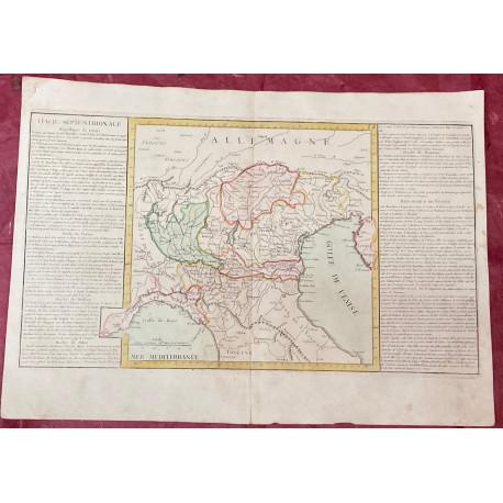 Géographie moderne: MAPA DE ITALIA SEPTENTRIONAL VENECIA, MILÁN, MÓDENA, PARMA Y MANTUA (Europa).