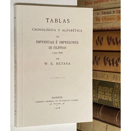 Tablas cronológica y alfabética de Imprentas é impresores de Filipinas (1593 - 1898).