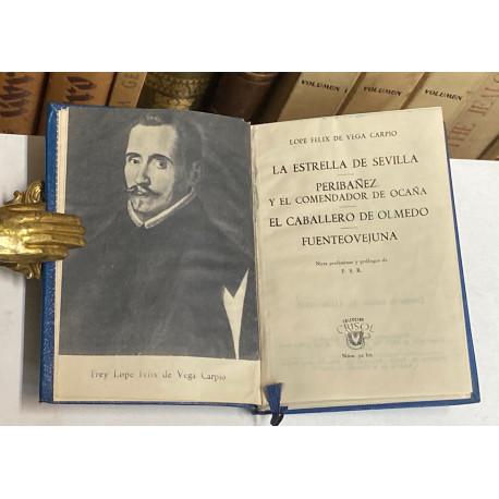 Cuatro obras teatrales: La estrella de Sevilla, Peribañez y el Comendador de Ocaña, El caballero de Olmedo y Fuenteovejuna.