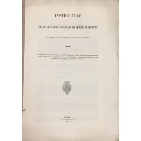 FOLLETO sobre INSTRUCCIÓN RÉGIMEN OFICINAS CAJA GENERAL DE DEPÓSITOS.